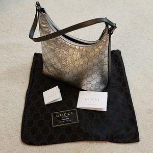 Authentic GUCCI Metallic Silver Handbag